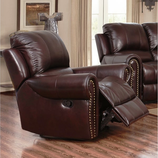 Abbyson Broadway Top Grain Leather Reclining Armchair - Free Shipping Today - Overstock.com - 12931793 & Abbyson Broadway Top Grain Leather Reclining Armchair - Free ... islam-shia.org
