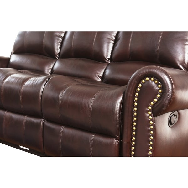 Abbyson Broadway Top Grain Leather Reclining 2 Piece Living Room Set - Free Shipping Today - Overstock.com - 12931794  sc 1 st  Overstock.com & Abbyson Broadway Top Grain Leather Reclining 2 Piece Living Room ... islam-shia.org