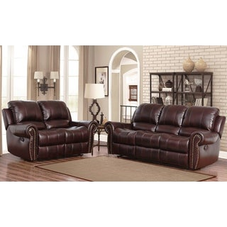 Abbyson Broadway Premium Top-grain Leather Reclining Sofa and Loveseat