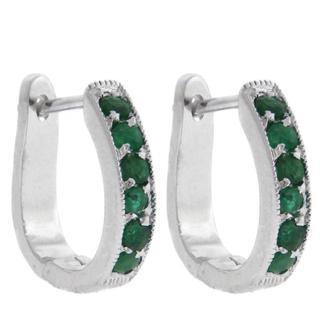 Dolce Giavonna Sterling Silver Emerald Hoop Earrings
