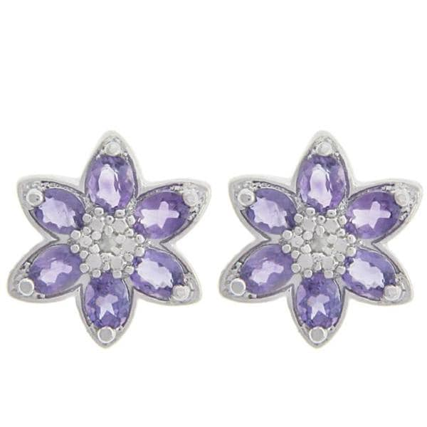 Dolce Giavonna Sterling Silver Oval-cut Amethyst and Diamond Accent Flower Earrings