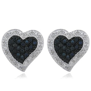 Dolce Giavonna Sterling Silver Sapphire and Diamond Accent Heart Earrings