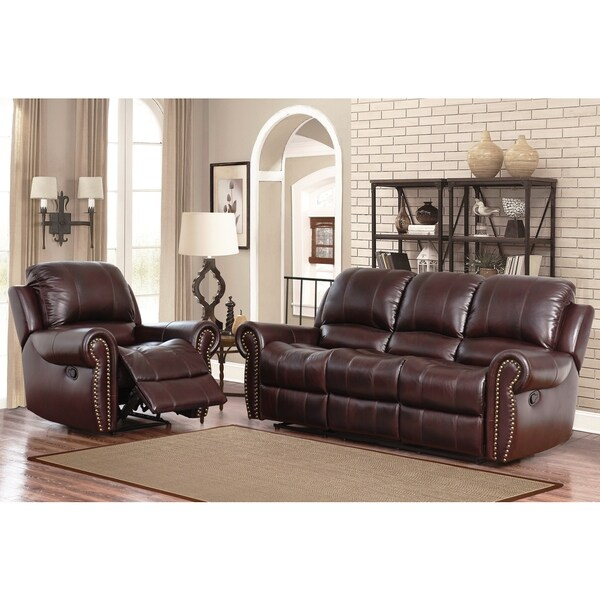 Exceptional Abbyson Broadway Top Grain Leather Reclining 2 Piece Living Room Set Part 29