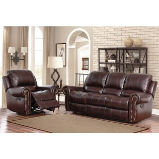 Abbyson Broadway Premium Top-grain Leather Reclining Reclining Sofa and Armchair