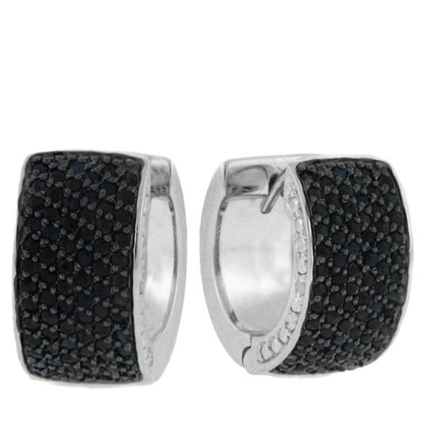 Dolce Giavonna Sterling Silver Sapphire and Diamond Accent Hoop Earrings