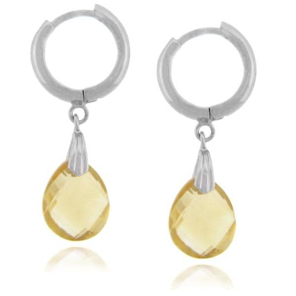 Dolce Giavonna Sterling Silver Citrine Briolette Drop Earrings