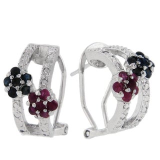 Dolce Giavonna Sterling Silver Ruby, Sapphire and Diamond Accent Flower Hoop Earrings