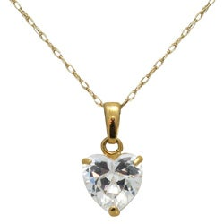 Gioelli 14k Yellow Gold Basket-set Heart-cut Cubic Zirconia Necklace