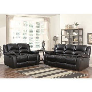 Abbyson Brownstone Top Grain Leather Reclining 2 Piece Living Room Set