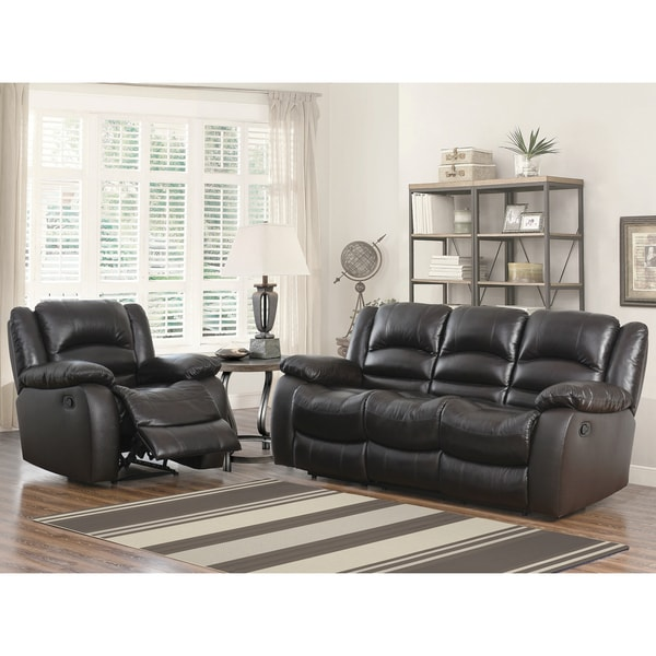 Abbyson Brownstone Premium Top-grain Leather Reclining Sofa and Armchair Set