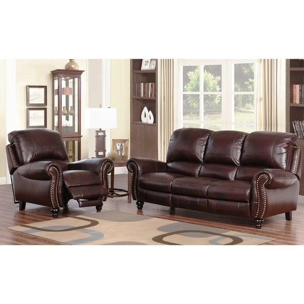 Abbyson Madison Premium Grade 2-piece Leather Pushback Reclining Sofa and Armchair