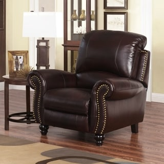 Abbyson Madison Premium Grade Leather Pushback Reclining Armchair
