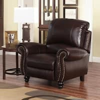 Abbyson Madison Burgundy Top-grain Leather Pushback Reclining Armchair