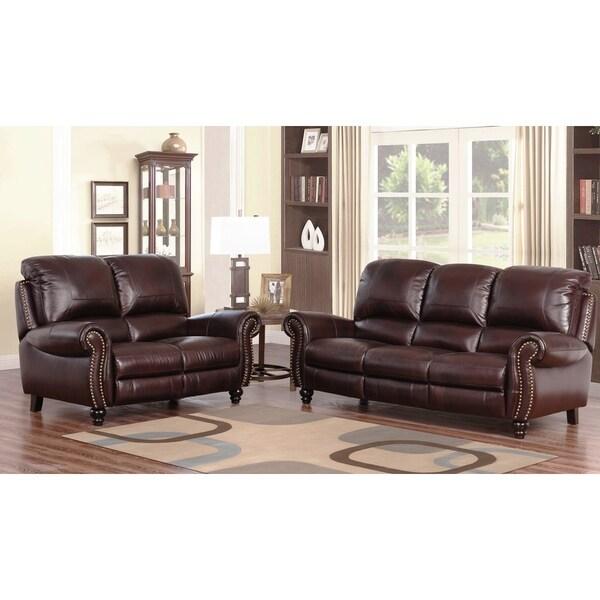 Abbyson Madison Premium Grade Leather Pushback Reclining Sofa and Loveseat