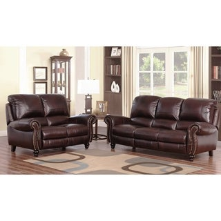Superior Abbyson Madison Top Grain Leather Pushback Reclining 2 Piece Living Room Set