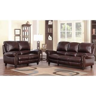 Abbyson Madison Premium Grade 2 Piece Leather Pushback Reclining Sofa And  Loveseat