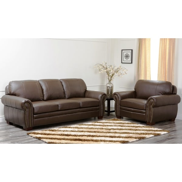 Shop Abbyson Living Signature Italian Leather 2pc Sofa And