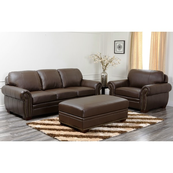 abbyson living signature italian leather 3 piece sofa set free
