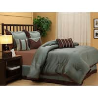 Tobey Luxury Blue Brown 7-piece Comforter Set