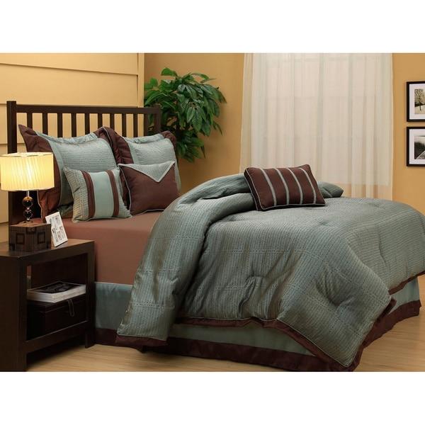 Tobey Luxury Blue Brown 7-piece Comforter Set