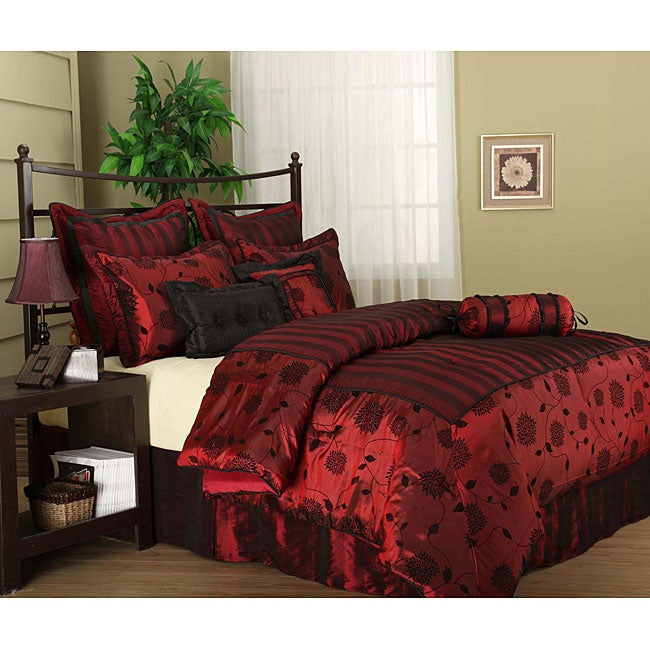 Evangeline 7 piece Flocking Luxury Comforter Set. Evangeline 7 piece Flocking Luxury Comforter Set   Free Shipping