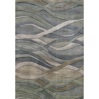 Alliyah Handmade Grey/Green New Zealand Blend Wool Rug - 8' x 10'