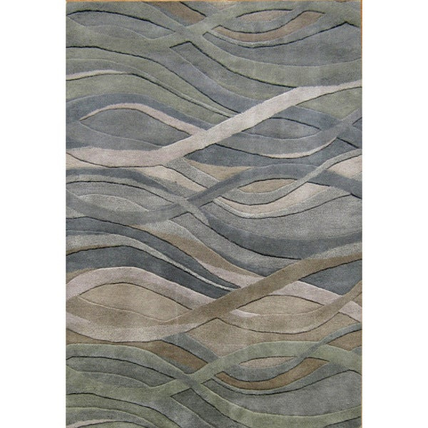 Alliyah Handmade Grey/Green New Zealand Blend Wool Rug - 5' x 8'