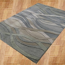 Alliyah Handmade Grey/Green New Zealand Blend Wool Rug (5' x 8')