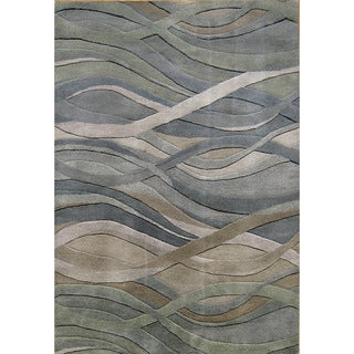 Alliyah Handmade Grey/Green New Zealand Blend Wool Rug (5' x 8')