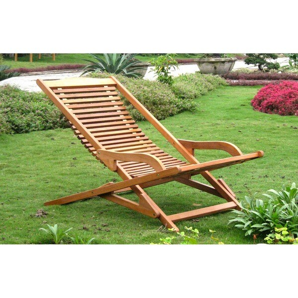 International Caravan Royal Tahiti Yellow Balau Hardwood Lounge Chair