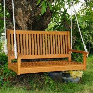 International Caravan Royal Tahiti Yellow Balau Hardwood Straight-back Two-seater Swing