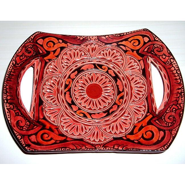 Handmade Ceramic 'Andalucia' II Engraved Plate (Morocco)