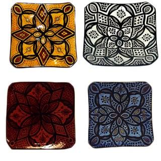 Handmade Ceramic 'Jamila' Engraved Plate (Morocco)