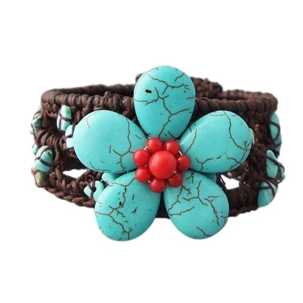 Cotton and Wire Turquoise/ Coral Flower Cuff Bracelet (Thailand)