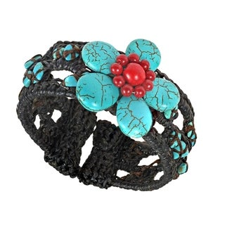 Handmade Cotton and Wire Turquoise/ Coral Flower Cuff Bracelet (Thailand)
