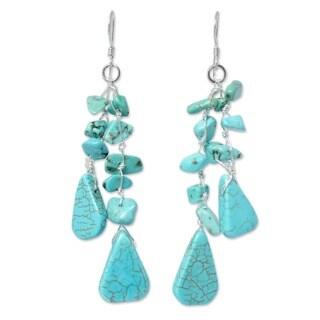 Handmade Sterling Silver 'Falling Rain' Beaded Waterfall Earrings (Thailand)
