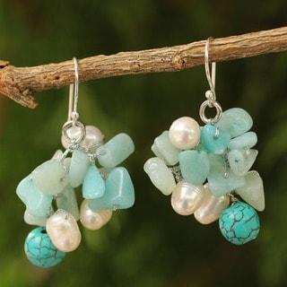 Pearl Cluster 'Blue Island' Earrings (Thailand)
