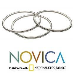 Set of 3 Moonlight Balinese 8-inch Sterling Silver Bangle Bracelets (Indonesia) - Thumbnail 2