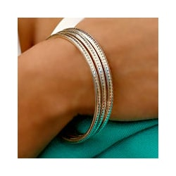 Handmade Set of 3 Moonlight Balinese 8-inch Sterling Silver Bangle Bracelets (Indonesia)
