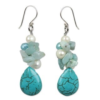 Handmade Silver 'Bluebells' Pearl and Amazonite Cluster Earrings (Thailand) - Blue