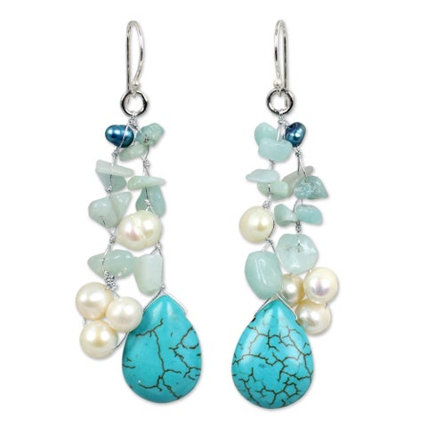 Handmade Sterling Silver 'Azure Allure' Pearl Waterfall Earrings (Thailand)