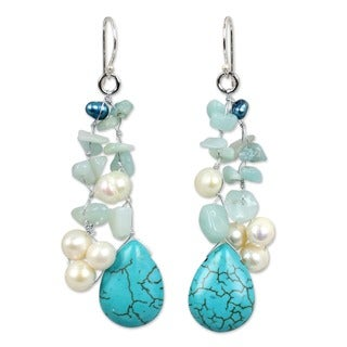 Sterling Silver 'Azure Allure' Pearl Waterfall Earrings (Thailand)