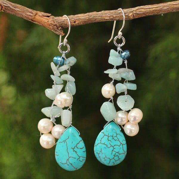 Handmade Sterling Silver 'Azure Allure' Pearl Waterfall Earrings (Thailand)