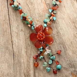 Handmade Agate and Carnelian Summer Flower Multicolor Floral Pattern Necklace (Thailand)