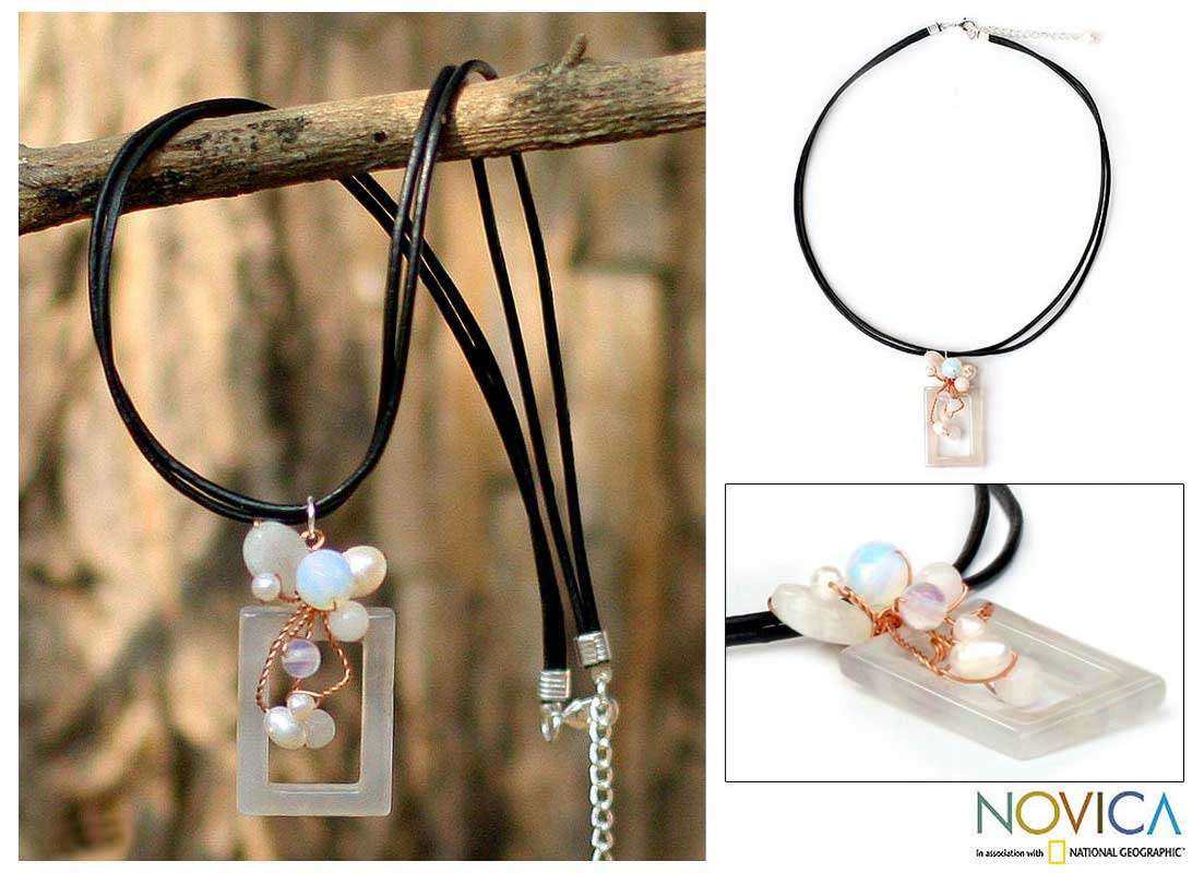Handmade Leather and Pink Agate 'Balloons' Pendant Necklace (Thailand)