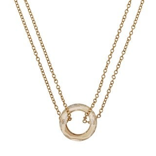 NEXTE Jewelry 14k Gold Overlay Double Chain Champagne Acrylic Cymbal Necklace