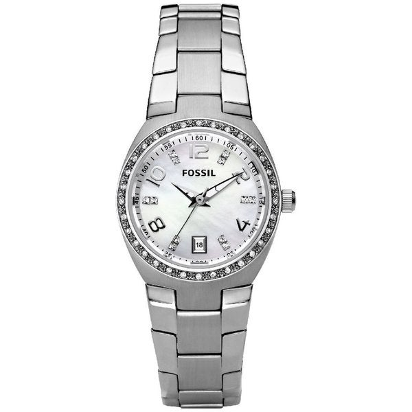 Shop fossil am4141 women 39 s analog mother of pearl watch free shipping today for Pearl watches