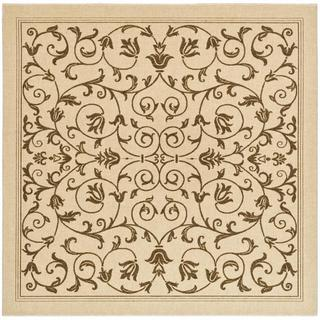 Safavieh Resorts Scrollwork Natural/ Brown Indoor/ Outdoor Rug (6' 7 Square)