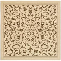 """Safavieh Resorts Scrollwork Natural/ Brown Indoor/ Outdoor Rug - 6'7"""" x 6'7"""" square"""