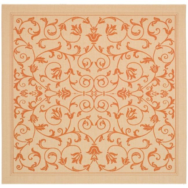 "Safavieh Resorts Scrollwork Natural/ Terracotta Indoor/ Outdoor Rug - 6'7"" x 6'7"" square"
